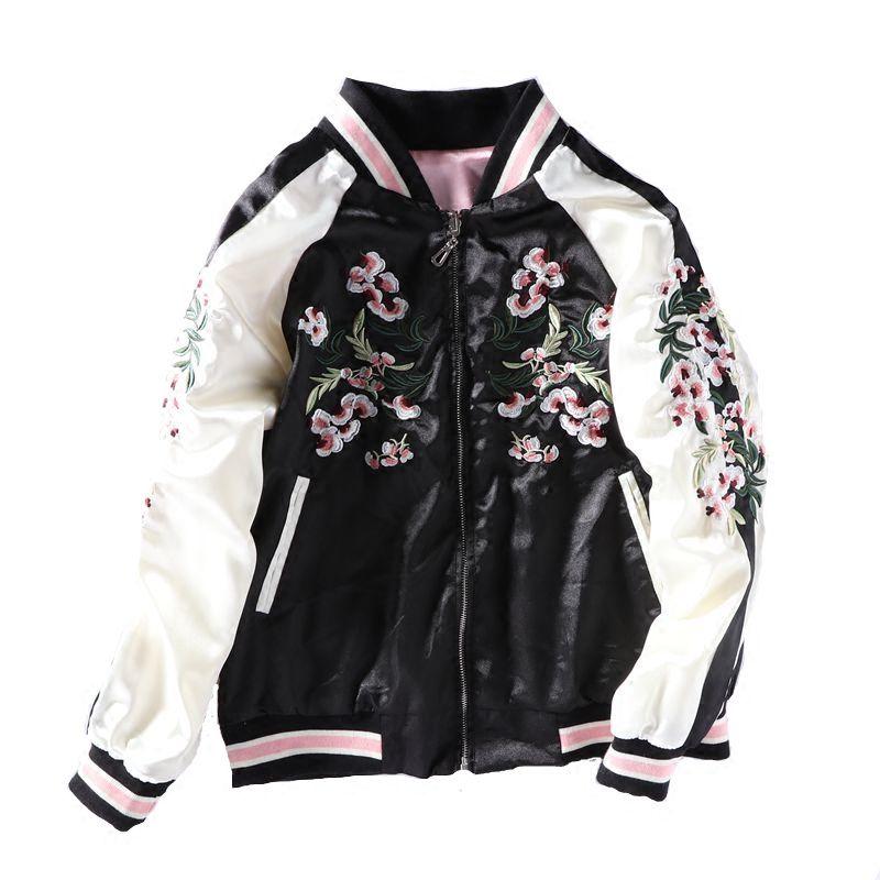 Nuevas damas flores de cerezo bordado Bomber Jacket mujeres manga larga Casual Tops cremallera chaquetas Outwear Tops sueltos abrigo básico
