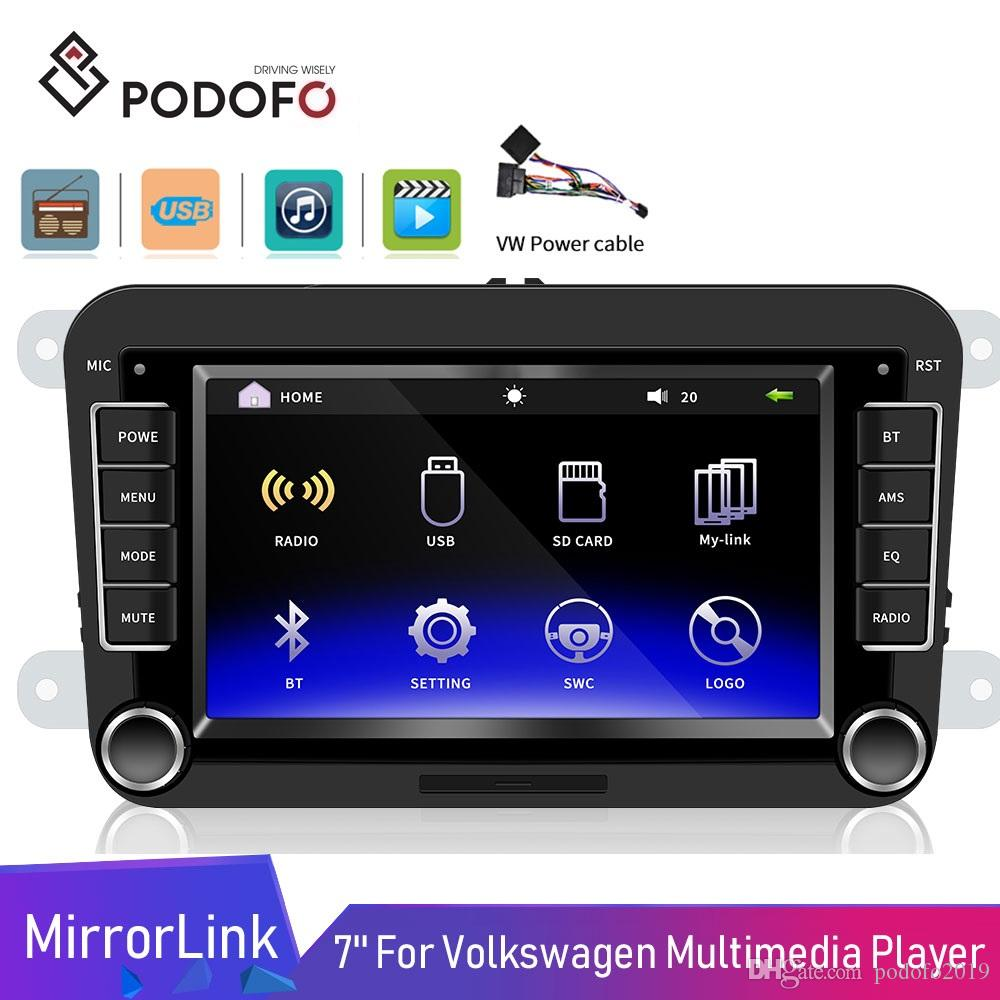 "Podofo 2DIN 자동차 DVD 플레이어 7 ""HD 안드로이드 ISO Mirrorlink Autoradio 블루투스 USB 비디오 VW 골프 스코다 좌석"