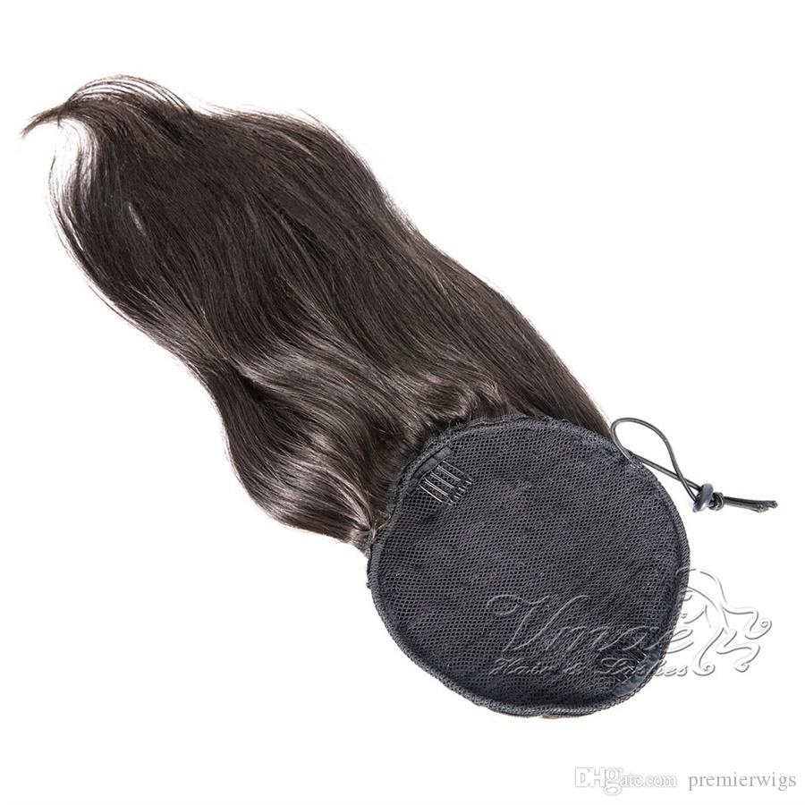 Human Straight Ponytail Hair 100g Natural Non Remy Hair horsetail tight hole Clip In Drawstring Ponytails Hair Extension