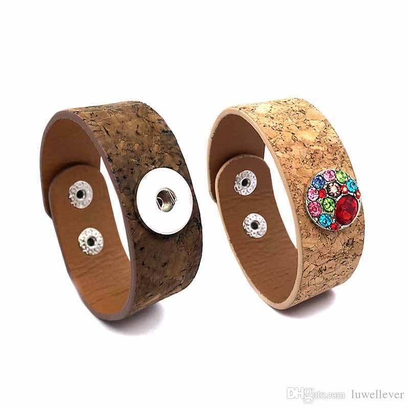 Moda Punk 292 intercambiable pulsera de cuero Retro de 18 mm botón a presión del brazalete del encanto de la joyería para las mujeres hombres regalo