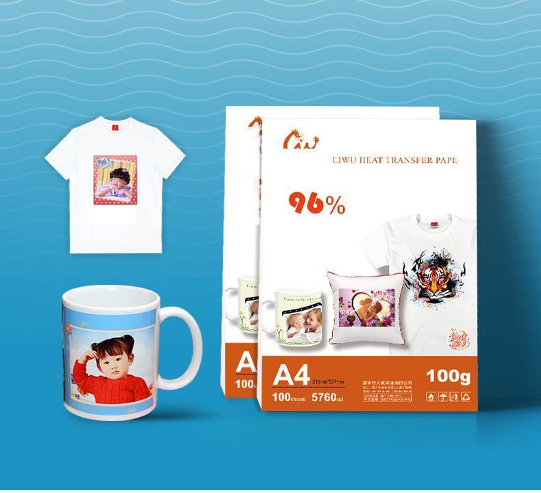 100 Tablolar A4 Süblimasyon ısı transfer kağıdı, 100gsm kağıt vs. Giyim, tişört, Cup, Yastık olarak kullanımı