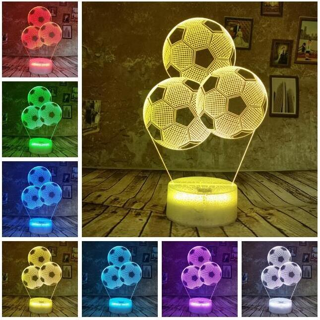 Creative 3D Soccer Ball Football Balloon RGB Bulbs Night Light 7 Color Change LED Table Lamp Decor Novelty Xmas Toy Gift for kids Boys Child