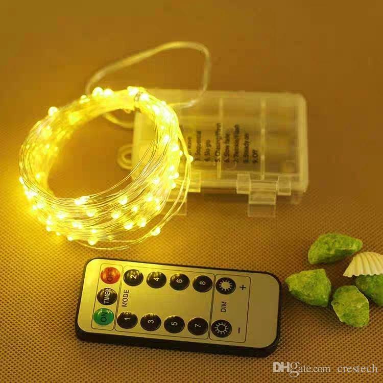 2m 5m 10M con pilas cadena luces LED con control remoto a prueba de agua de cobre de plata de la lámpara de alambre para la Navidad del banquete de boda de vacaciones