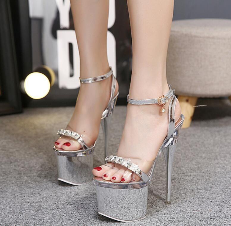 الصيف نمط سوبر أحذية عالية الكعب 18 سنتيمتر الفضة الخنجر الصليب الأشرطة المرأة الصنادل ملهى ليلي الجنس حجم كبير 35-41
