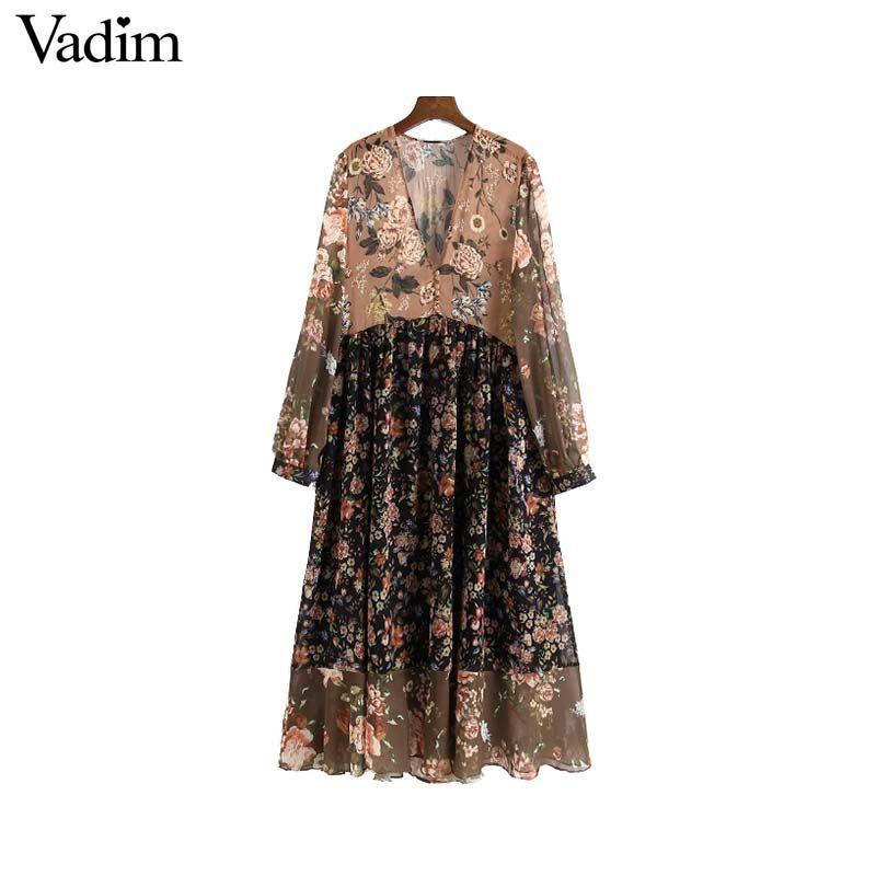 Vadim mulheres V neck floral chiffon vestido plissado ver através de manga longa do vintage feminino retro chique meados de bezerro vestido vestidos QA763