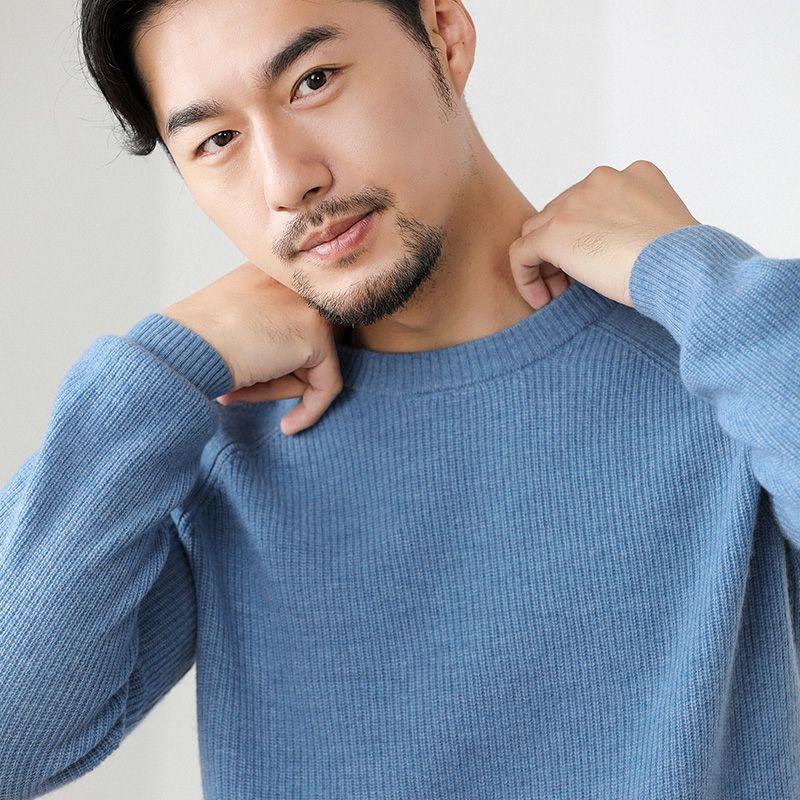 Мужской кашемировый свитер круглый вырез сплошной цвет теплый пуловер свободный свитер с длинным рукавом нижняя рубашка