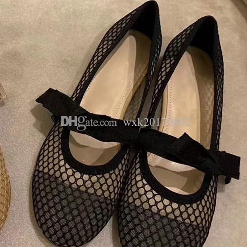 2020 Brief-Bogen-Knoten-Absatz-Schuhe Frauen Runway Spitzschuh Low Heel-Schuhe Frau Gladiaor Sandelholz-Dame-Entwurf Netz flache Schuhe 35-41