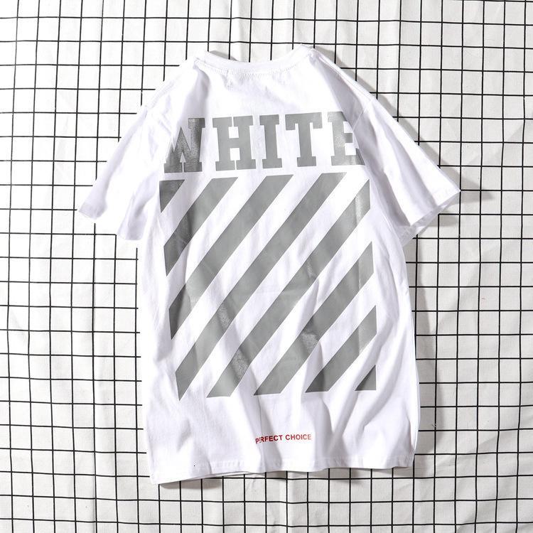 2019AW OFF de manga corta de rayas oblicuas básica desgaste camiseta WHITELO0C de la pareja de la mujer de la camisa suelta base de la marca de moda de los hombres y las