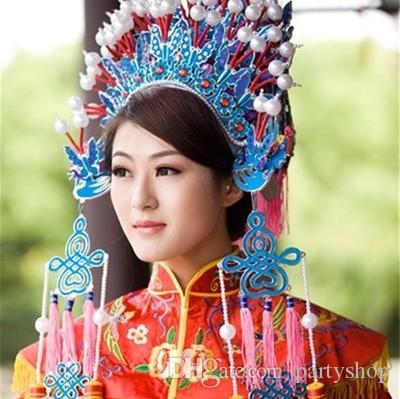 Teatro dell'Opera di Pechino Copricapo dramma di nozze sposa del costume della mascotte della corona della regina del carnevale donne fase prestazioni signora cappello carnevale di Halloween