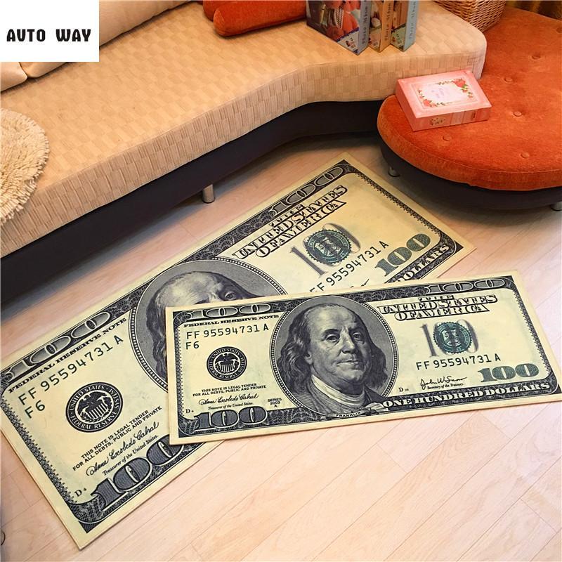Patrón del dólar de alfombras por encargo de la Casa Club Cafe Mat cabecera Mats dinero Alfombra antideslizante Tapetes