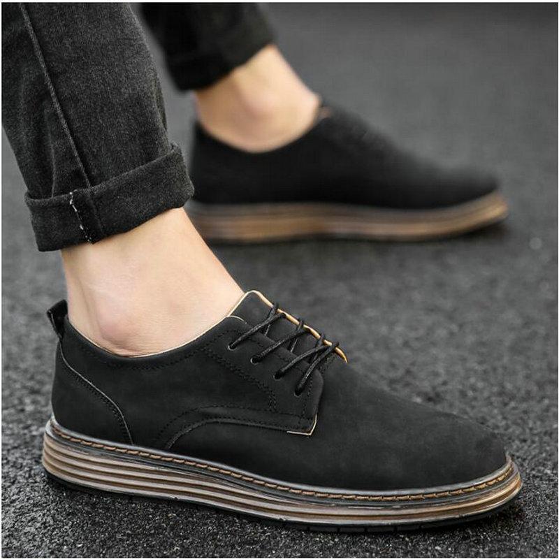 2018 Nouveau Automne Nouveau Chaussures Casual Hommes cuir Flats Lacets Simple élégant Homme Oxford LD-81