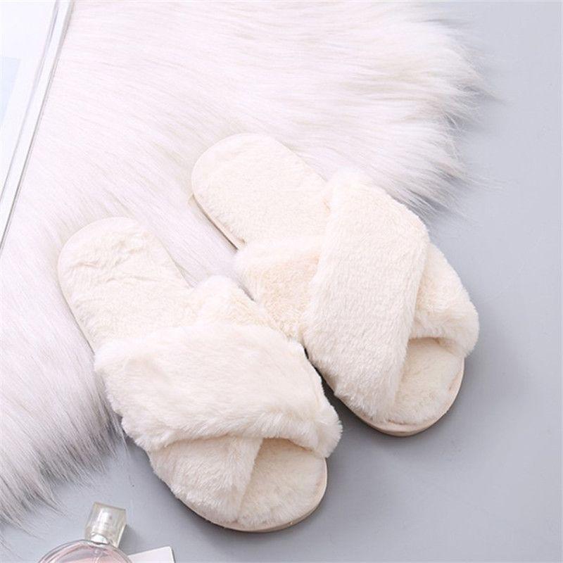 LEOSOXSWomen Pantofole Inverno Scarpe donna calda Infilare Flats diapositive Femminile Faux Fur pantofole 36-41 all'ingrosso