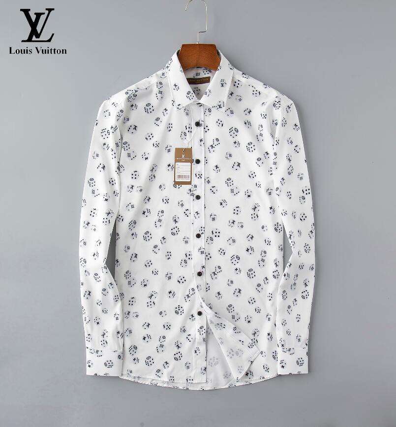 2020.New Mens Dress Shirts Fashion Casual Shirt Men Medusa Shirts Gold Floral Print Slim Fit Shirts Men111