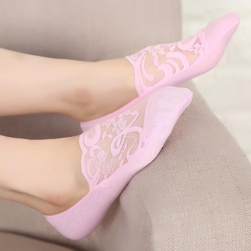Femminile sexy donne del merletto No Show calzini pantofole Estate traspirante barca calzini di slittamento non gel del silicone di scarpe Liner calzini invisibili