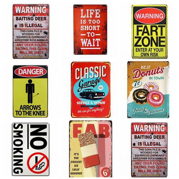 Metal Signs Warning Shot FART ZONE Vintage Tin Signs Art Poster Plate Garage Pub Rustic Wall Plaque Garage Bar Diner Home Wall Decor