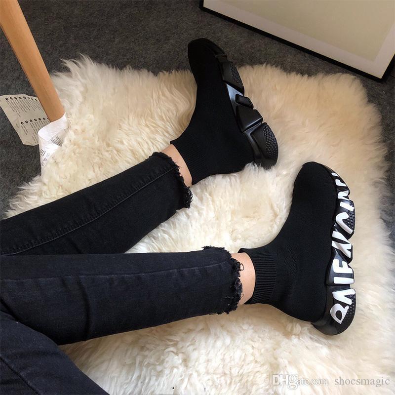 mens için Moda yumuşak futbol çorap ayakkabı Hız Çorap Sneakers Stretch Mesh Yüksek Top Boots siyah beyaz kırmızı parıltı Runner Düz Trainer womens