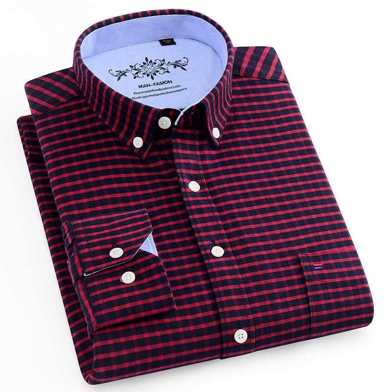 2020 Mens Wear Oxford Negro rayado rojo de la tela escocesa ocasional del algodón de manga larga camisa de primavera comercial masculino Social vestido a cuadros Camisa