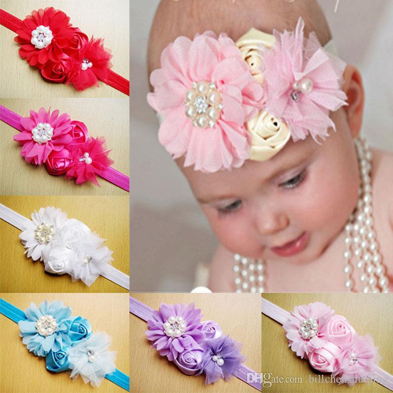 Venta al por mayor de niña bebé vendas elásticas niños accesorios para el cabello flor Hairbands con adornos para el cabello de diamante accesorios de fotografía envío gratis