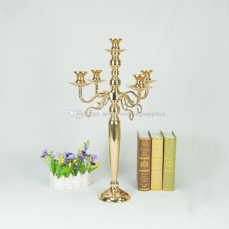 New stylegold 5-Arms Candelabrum Candle Holders Metal Candelabras Gold Finish Candlesticks Candle Holder Wedding Party Event Decor senyu0395