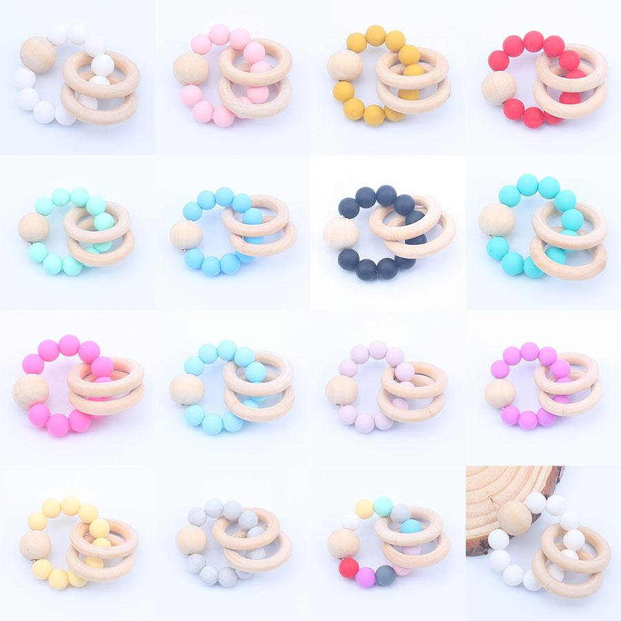 Baby Teether Rings Food Grade Beech Wood Teething Ring Soothers Chew Toys Shower Play Chew Round Wooden Bead Newborn Silicone teethers M1427