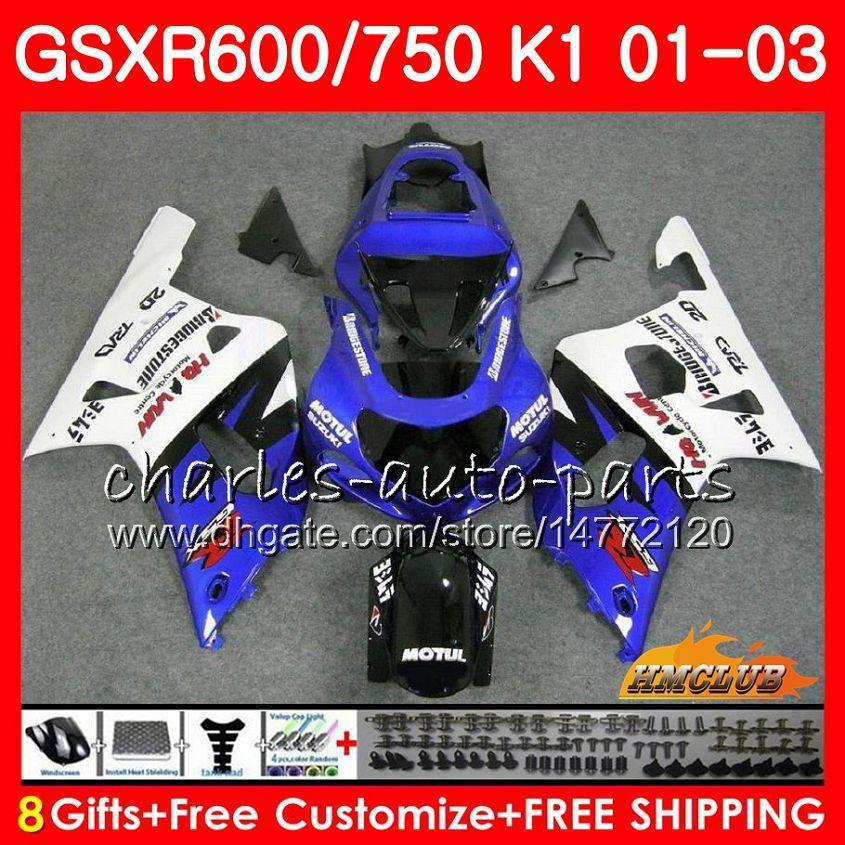 8Gifts Body for Suzuki GSX-R750 GSXR 600 750 Blue White Top GSXR600 01 02 03 4HC.14 GSXR-600 K1 GSX R750 GSXR750 2001 2002 2003 Fairing Kit