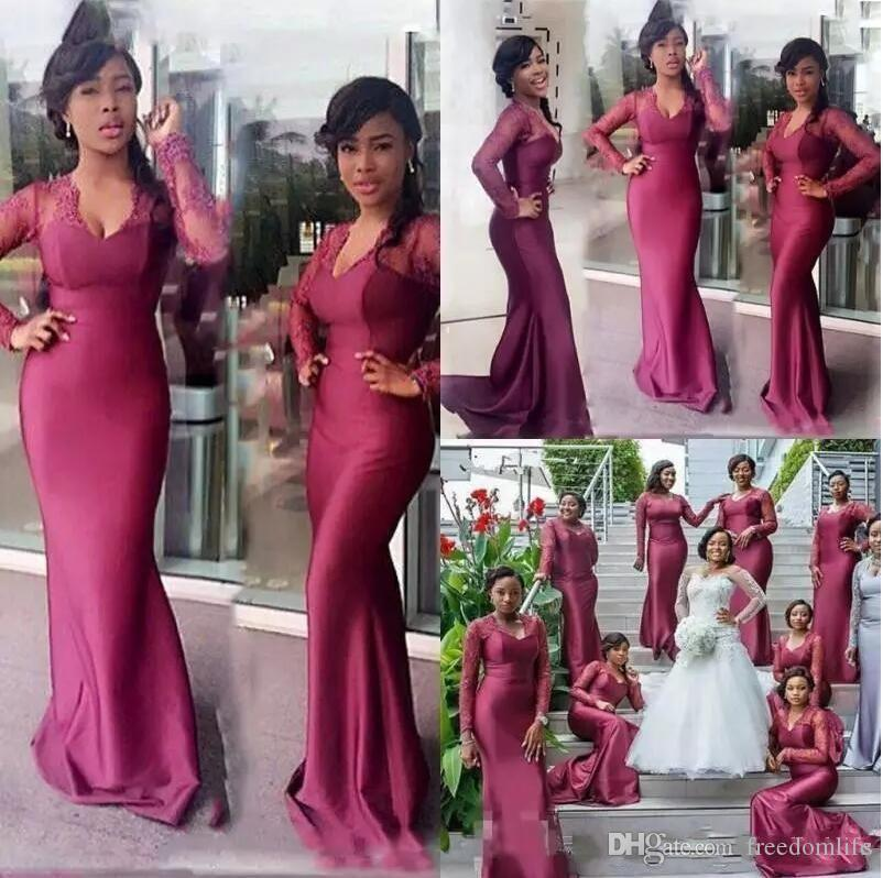 New South African Mermaid Bridesmaids Dresses 2018 Lace Long Sleeves Long Formal Maid of Honor Plus Size Purple Wedding Guest Party Gowns