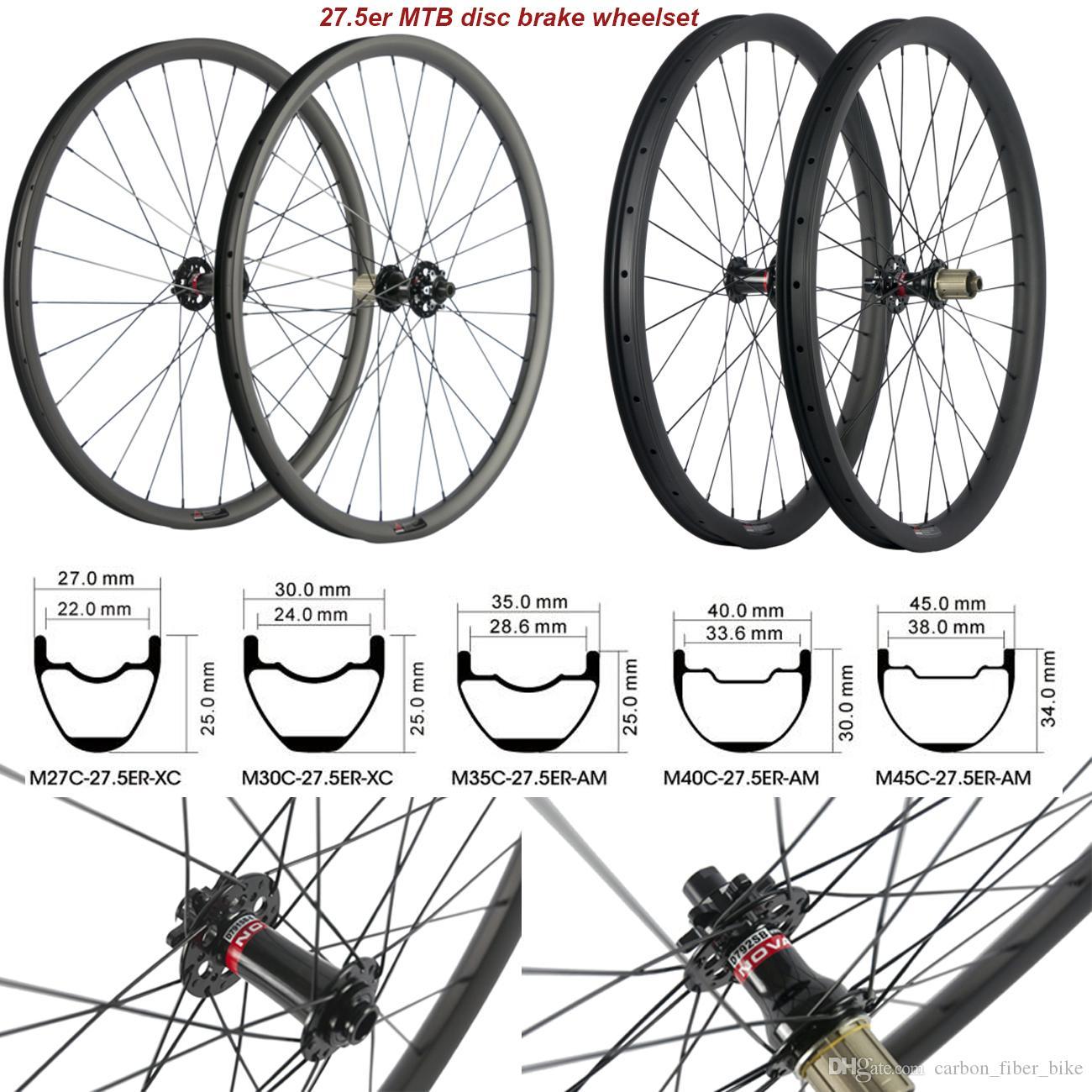MTB الكربون العجلات 27.5ER 27/30 / 35/40 / 45mm ومع جبل عجلات Novatec محور 791-792 مركزا 6 الترباس UD ماتي الكربون عجلات