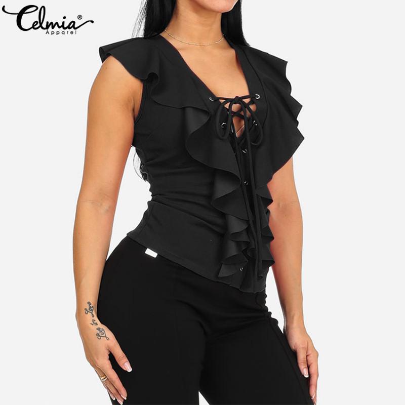 Chemisiers pour femmes sexy Celticia col en V à lacets sans manches Tops 2019 d'été à volants Chemises solide Casual Slim Plus Size Blusas