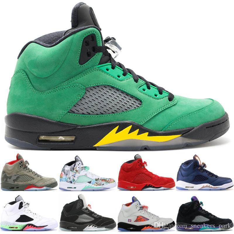 2020 Лучшие 5 5s Mens Basketball обувь Camo Light аква Oregon Ducks Black Metallic Высочайшее качество стилиста обувь Спортивная Sneaker 36-47