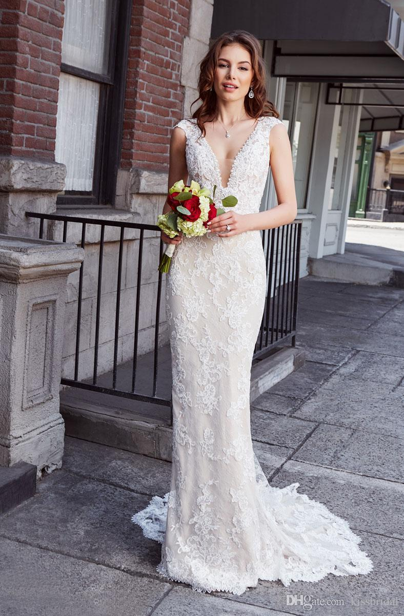 Wedding Dresses robes Sexy Plunging V Neck Cap Sleeve Bridal Gowns Open Back Plus size Formal Dress for Bride