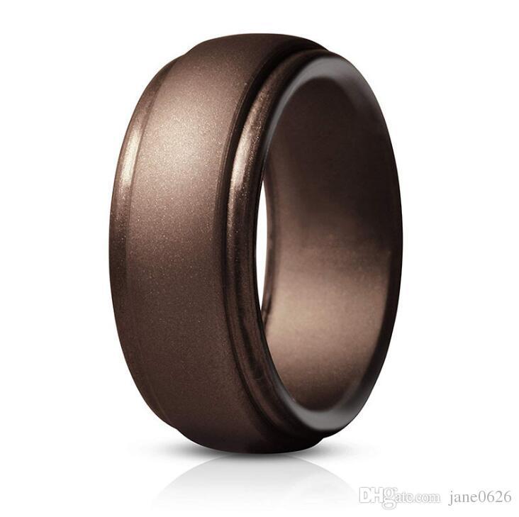 Faixas de casamento de silicone anel de casamento premium silicone MenRubber BandsFlexible pele Seguro confortáveis 8 cores frete grátis