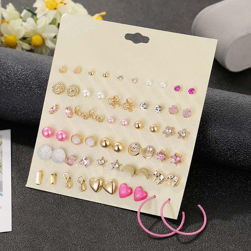 30 pares de Rosa Alloy bonito Stud Brincos Coração Set Pink Elephant Lua Brincos com strass e pérolas menina