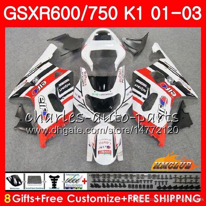 8Gifts 바디 스즈키 GSXR 600 750 GSXR600 2001 2002 2003 뜨거운 판매 흰색 4HC.74 GSX R750 GSXR600 GSXR750 K1 GSXR750 01 02 03 페어링 키트