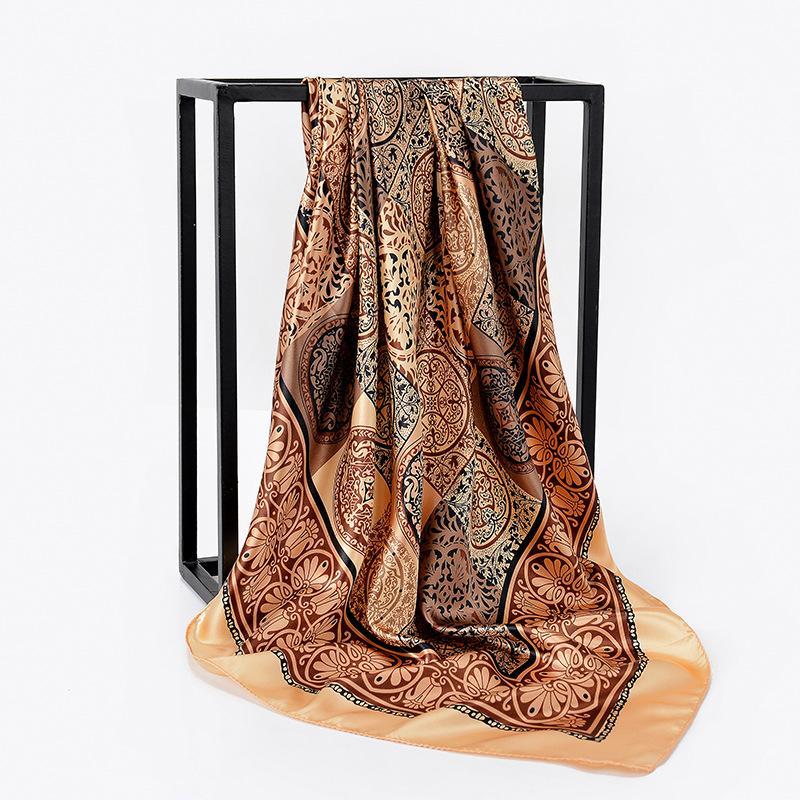 Шелковый сатин Платок Женщины волос Шарф Розовый Hhaki Мода Печать хиджаб Шарфы 2019 квадратных Шали и палантины шарфы для леди 90 * 90см