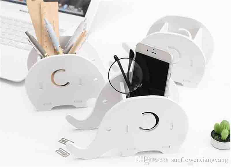 Novo Housekeeping Elefante DIY Escritório Desktop Caixa De Armazenamento De Caneta Titular Recipiente De Telefone Desktop Desktop Sundries Organizador De Armazenamento De Papelaria