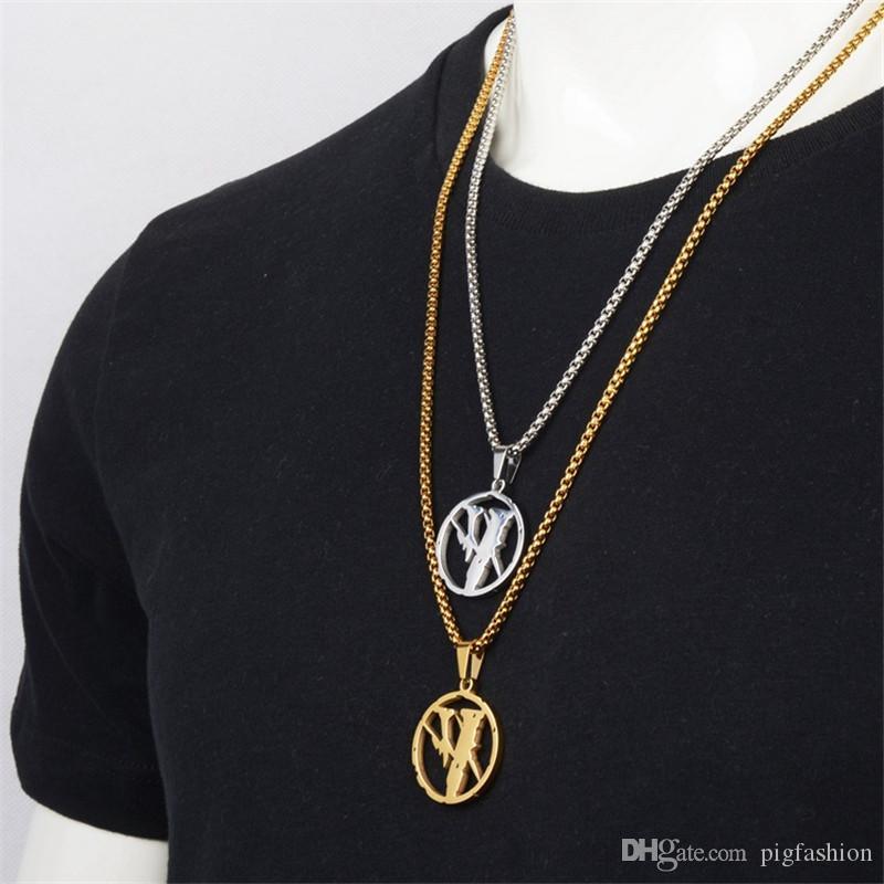 V Lettre Logos Mix Collier Mode Hip Hop populaire Branded Pendentif Accessoires d'Or Pendentif Collier