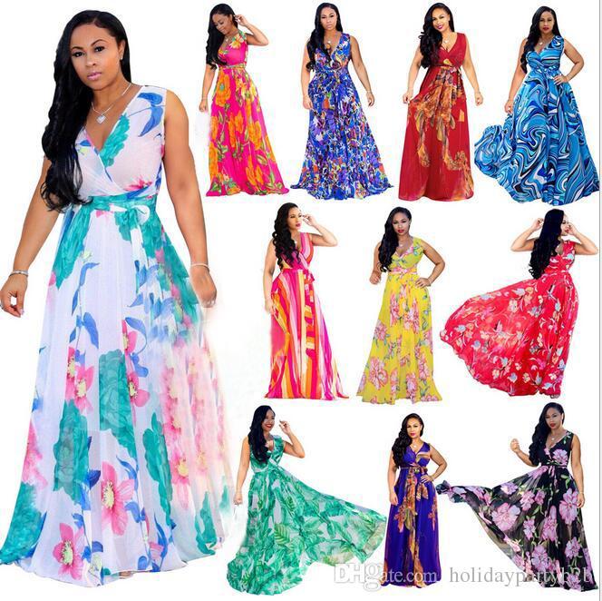 Abito lungo da donna bohemien manica corta con stampa floreale profondo scollo a V abito da spiaggia abito vintage plus size (S-2XL)