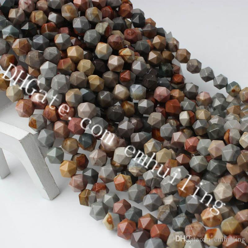 10 Strands Faceted America Picture Jasper Beads Polygon Cut Gemstone Loose Beads Natural Rare Semi Precious Stone Diamond Cut Beads 6-12mm