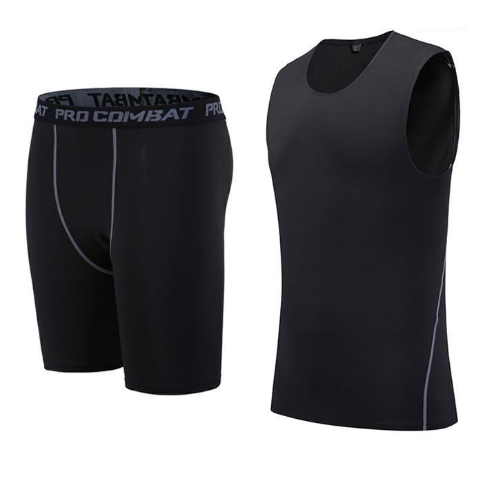 2pcs séchage rapide Trucsuit Designer Running stretch Gym Sport Gilet Costumes hommes Skinny Slim Jambières Mens Fitness