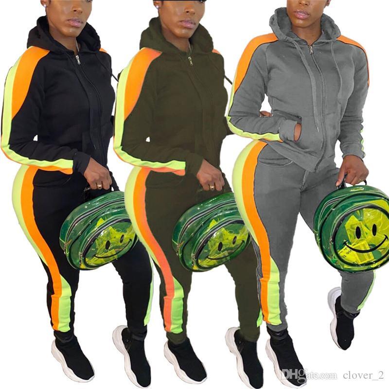 Les femmes Survêtement veste cardigan deux sweat-shirt de costume de sport ensemble jogger pièces collants femmes conviennent occasionnels sport tops pantsuit klw2885