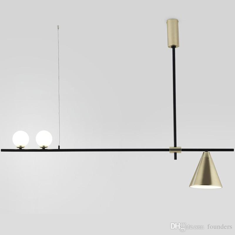Cristal moderno Colgante Ligero Comedor nórdico Cocina Luz Diseñador Lámparas colgantes Avize Lustre Iluminación negro / oro accesorio de hierro