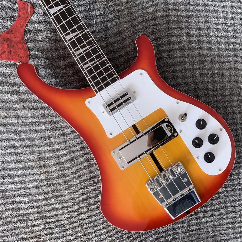 Livraison gratuite, Ric personnalisé 4 Cordes Cherry Sunburst 4003 Guitare de basse électrique Chrome Triangle Triangle Mop Touche Touche Inlay Guitare China Guitare