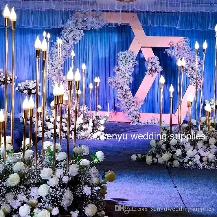 oro ligtting mentale stadio colonne pilastro portacandele passerella di nozze navata decorativo senyu0144