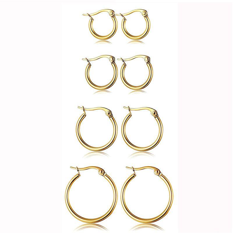 Pendiente del aro exagerado gran hebilla redonda caliente pendientes de aro de acero inoxidable baratos 15mm-60mm para Mujeres Joyas y accesorios de regalo