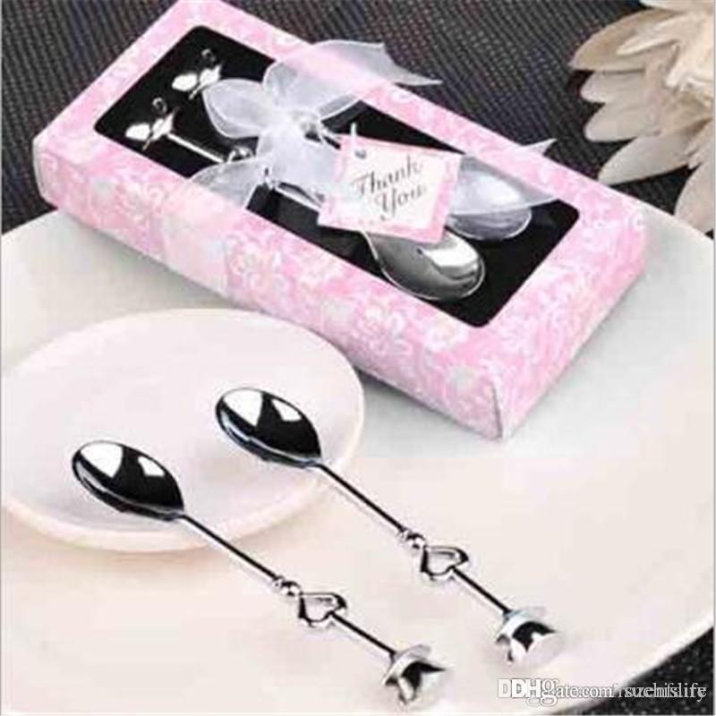 Livraison gratuite 20set / lot 2 en1 Favors mariage Teatime amour au-delà de coeur mesurer cuillères à mesurer en cadeau / cuillère à café