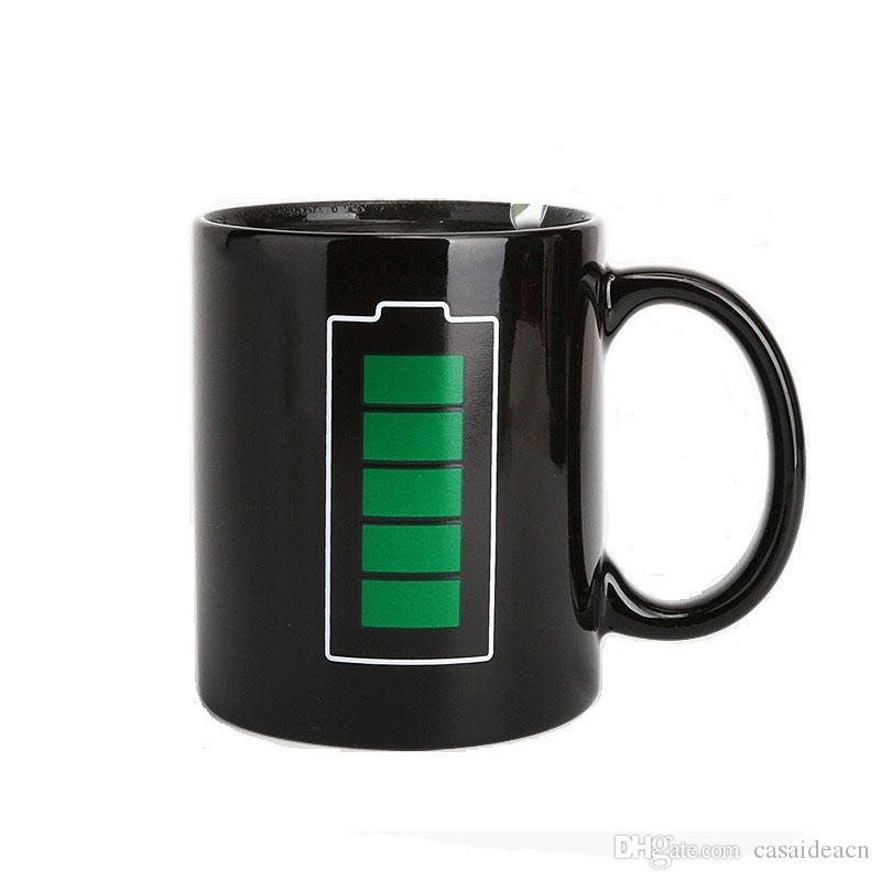 Magic Batteria Colore Modifica della tazza Termometro TERMOMETRO SENSORE SENSIBILE NERO Nero Tazza da caffè Creative Corporation Promozione Regali