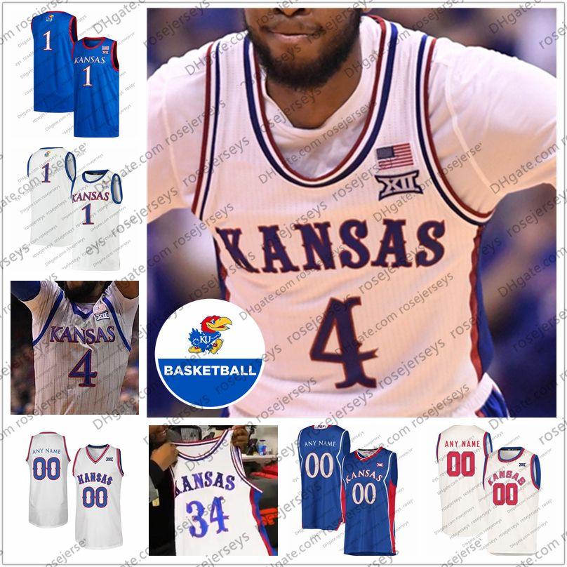 Custom Kansas Jayhawks 2020 Баскетбол #1 Девон Дотсон 35 Удока Азубуике 4 Исайя Мосс 0 Маркус Гаррет 34 Пирс Мужчины Молодежь Ретро Джерси