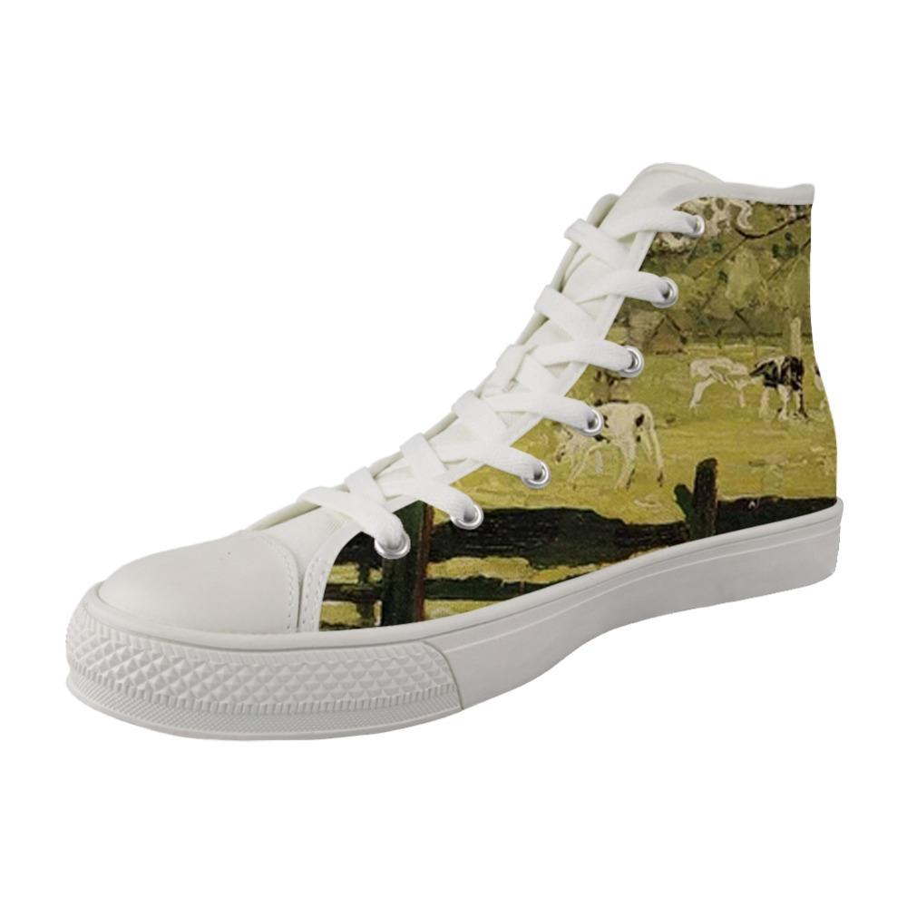 Canvas Low Top Sneaker Casual Skate Shoe Mens Womens Artistic Mondrian Style