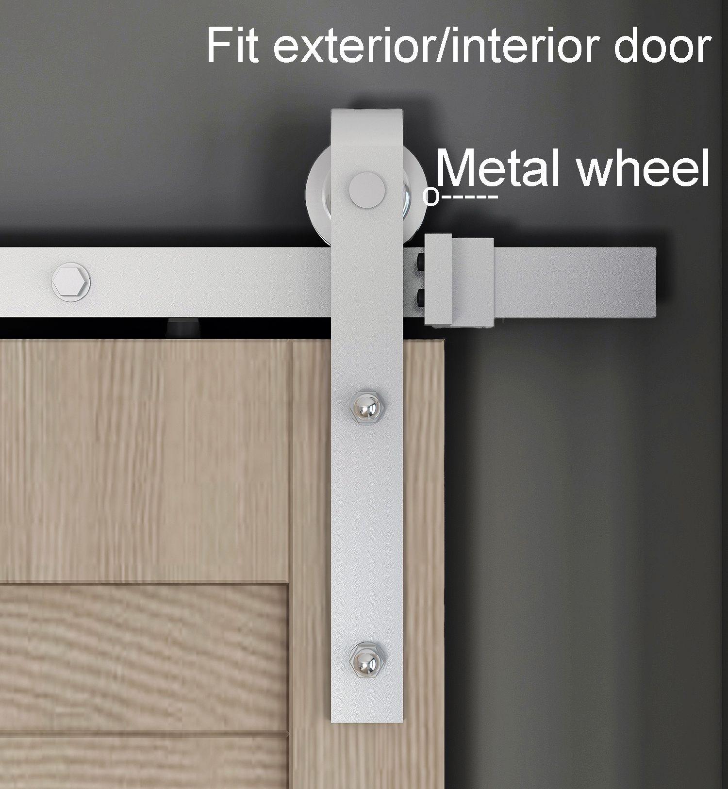 DIYHD 5FT-8FT DACROMET المواد الخام انزلاق باب الحظيرة الأجهزة، الأسطوانة المعدنية، صالح الخارجي الثقيلة باب الحظيرة