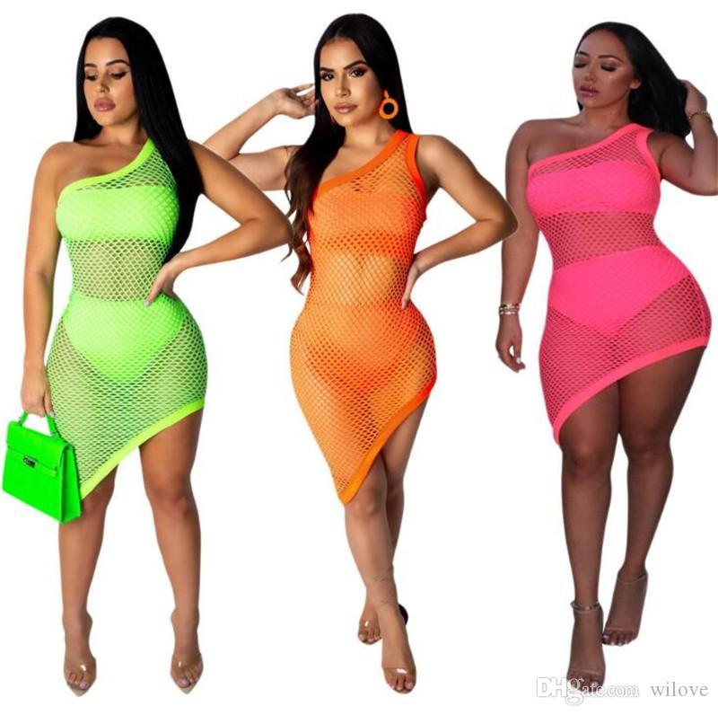 Yeni Kadın Günlük Elbiseler Plaj Elbise Sundress Seksi Kadın Mayo Kapak Up 3 Resimler / Set Net Bikini Elbise